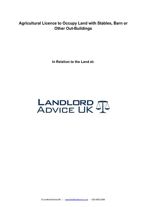 Agricultural Licence to Occupy from Landlord Advice UK